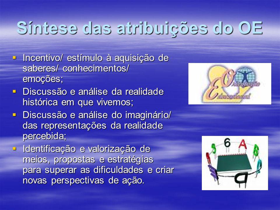 Síntese das atribuições do OE Incentivo/ estímulo à aquisição de saberes/ conhecimentos/ emoções; Incentivo/ estímulo à aquisição de saberes/ conhecim