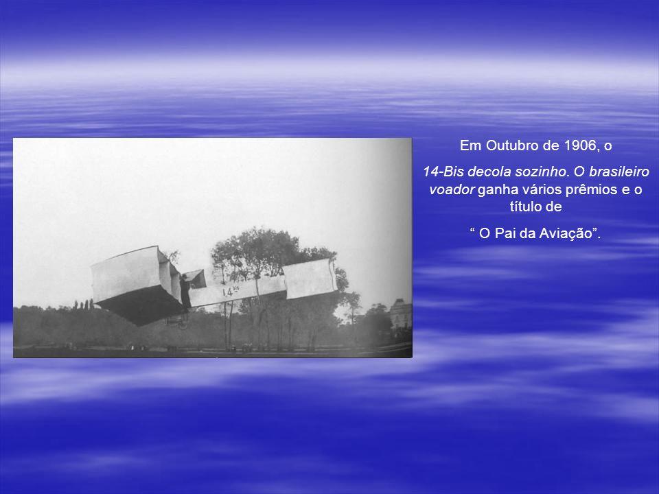 Depois, Santos Dumont se utiliza de um burro para decolar o aeroplano...