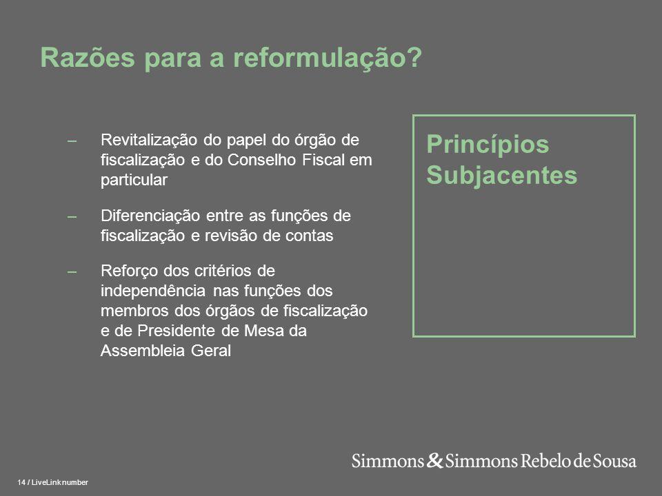 15 / LiveLink number Princípios Subjacentes Razões para a reformulação.