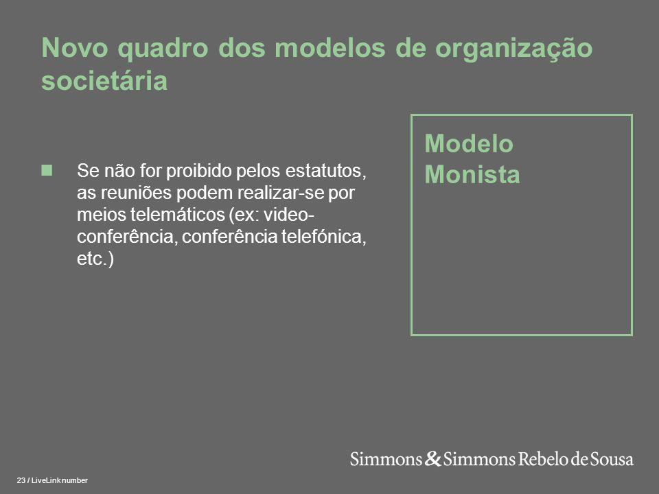 24 / LiveLink number Estrutura de Reporte CA AG CF Modelo Monista Simples Modelo Monista Complexo CACA AG CF ROC