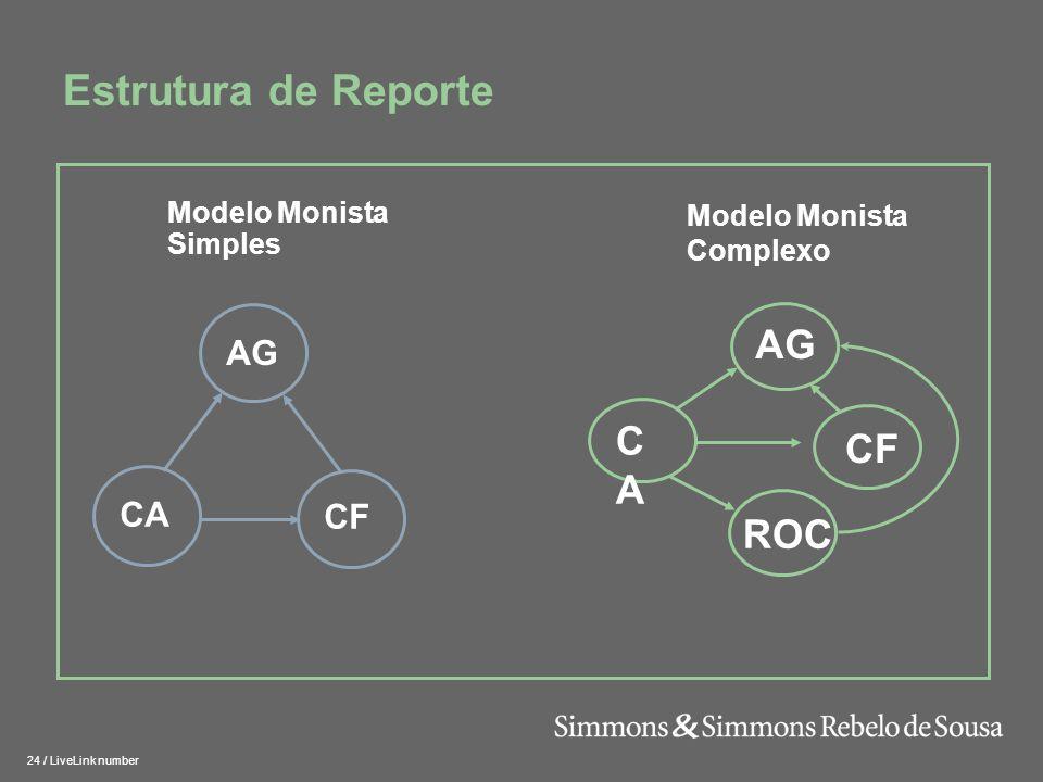25 / LiveLink number Modelo Anglo- Saxónico Novo quadro dos modelos de organização societária Estrutura –Conselho de Administração, incorporando uma Comissão de Auditoria e Revisor Oficial de Contas Competências –Conselho de Administração – gerir –Comissão de Auditoria – fiscalizar –ROC – auditar as contas