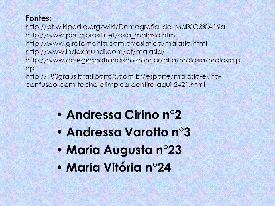 Fontes: http://pt.wikipedia.org/wiki/Demografia_da_Mal%C3%A1sia http://www.portalbrasil.net/asia_malasia.htm http://www.girafamania.com.br/asiatico/ma