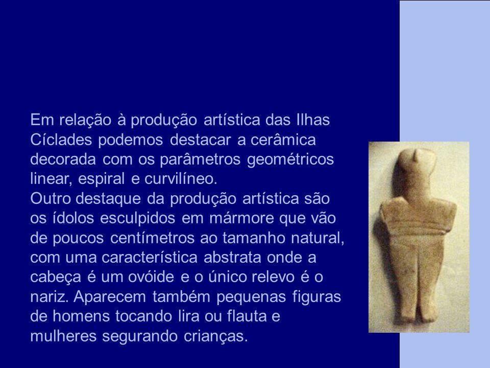 A Tese Em relação à produção artística das Ilhas Cíclades podemos destacar a cerâmica decorada com os parâmetros geométricos linear, espiral e curvilí