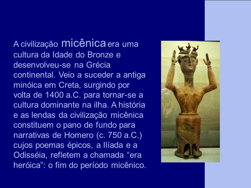 A civilização micênica era uma cultura da Idade do Bronze e desenvolveu-se na Grécia continental. Veio a suceder a antiga minóica em Creta, surgindo p