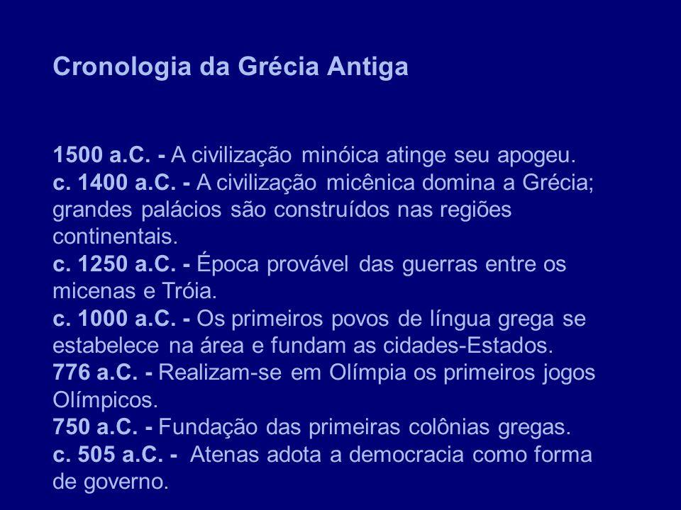 Cronologia da Grécia Antiga 1500 a.C. - A civilização minóica atinge seu apogeu. c. 1400 a.C. - A civilização micênica domina a Grécia; grandes paláci