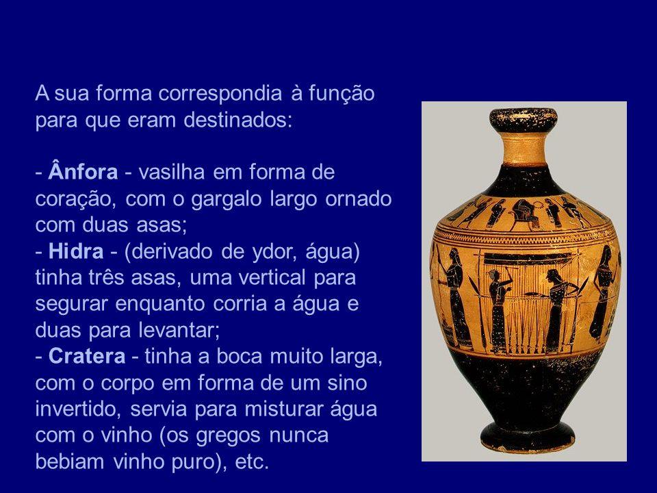 A sua forma correspondia à função para que eram destinados: - Ânfora - vasilha em forma de coração, com o gargalo largo ornado com duas asas; - Hidra