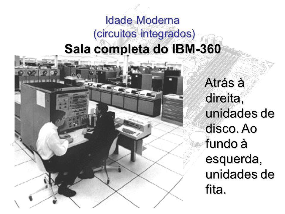 Idade Moderna (circuitos integrados) Sala completa do IBM-360 Atrás à direita, unidades de disco. Ao fundo à esquerda, unidades de fita. Atrás à direi