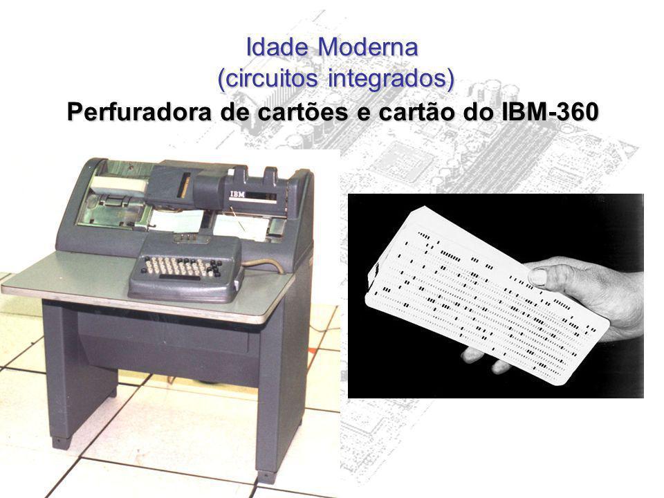 Idade Moderna (circuitos integrados) Perfuradora de cartões e cartão do IBM-360