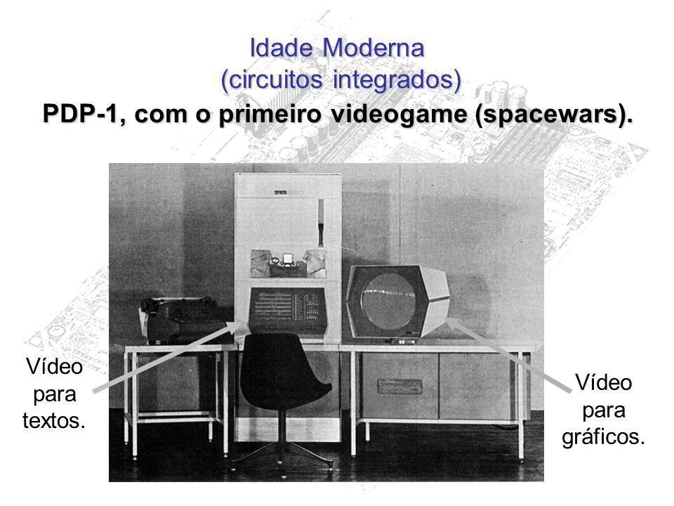Idade Moderna (circuitos integrados) PDP-1, com o primeiro videogame (spacewars). Vídeo para textos. Vídeo para gráficos.