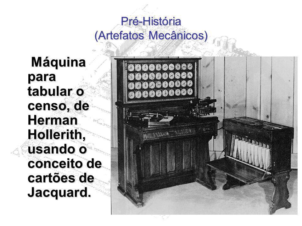 Pré-História (Artefatos Mecânicos) Máquina para tabular o censo, de Herman Hollerith, usando o conceito de cartões de Jacquard. Máquina para tabular o
