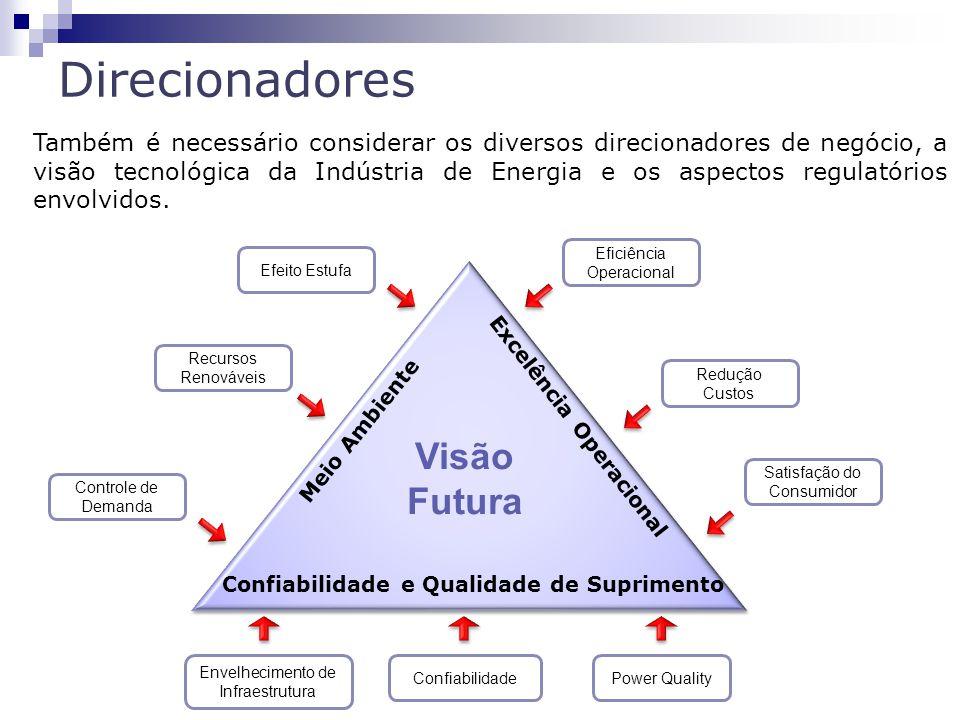 Direcionadores 113 Meio Ambiente Confiabilidade e Qualidade de Suprimento Excelência Operacional Visão Futura Efeito Estufa Recursos Renováveis Controle de Demanda Eficiência Operacional Redução Custos Satisfação do Consumidor Envelhecimento de Infraestrutura ConfiabilidadePower Quality Também é necessário considerar os diversos direcionadores de negócio, a visão tecnológica da Indústria de Energia e os aspectos regulatórios envolvidos.