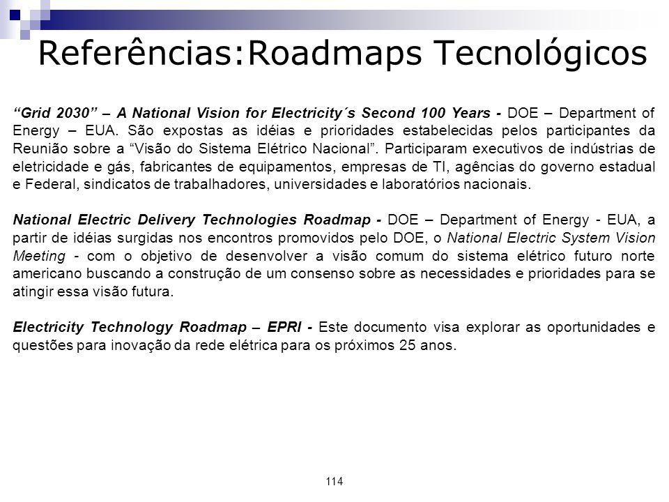 Referências:Roadmaps Tecnológicos 114 Grid 2030 – A National Vision for Electricity´s Second 100 Years - DOE – Department of Energy – EUA.