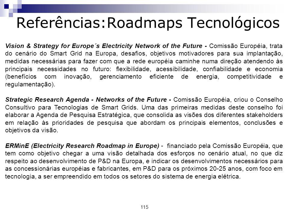 115 Vision & Strategy for Europe´s Electricity Network of the Future - Comissão Européia, trata do cenário do Smart Grid na Europa, desafios, objetivos motivadores para sua implantação, medidas necessárias para fazer com que a rede européia caminhe numa direção atendendo às principais necessidades no futuro: flexibilidade, acessibilidade, confiabilidade e economia (benefícios com inovação, gerenciamento eficiente de energia, competitividade e regulamentação).