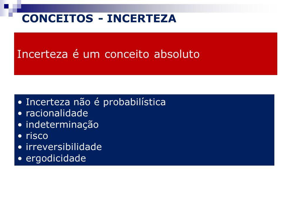 CONCEITOS - INCERTEZA Incerteza é um conceito absoluto Incerteza não é probabilística racionalidade indeterminação risco irreversibilidade ergodicidade