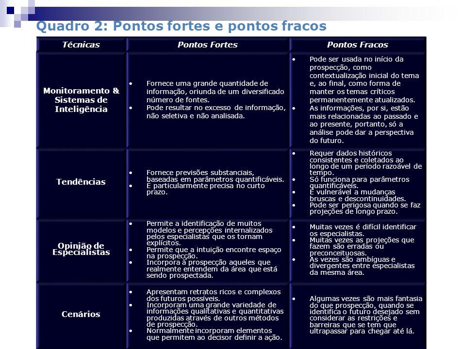 Quadro 2: Pontos fortes e pontos fracos TécnicasPontos FortesPontos Fracos Monitoramento & Sistemas de Inteligência Fornece uma grande quantidade de informação, oriunda de um diversificado número de fontes.