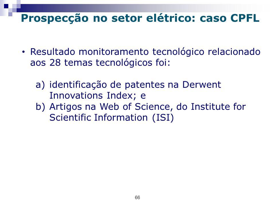 66 Resultado monitoramento tecnológico relacionado aos 28 temas tecnológicos foi: a)identificação de patentes na Derwent Innovations Index; e b)Artigos na Web of Science, do Institute for Scientific Information (ISI) Prospecção no setor elétrico: caso CPFL