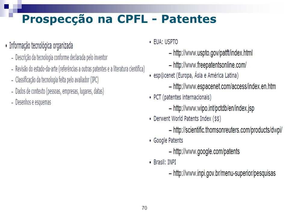 70 Prospecção na CPFL - Patentes
