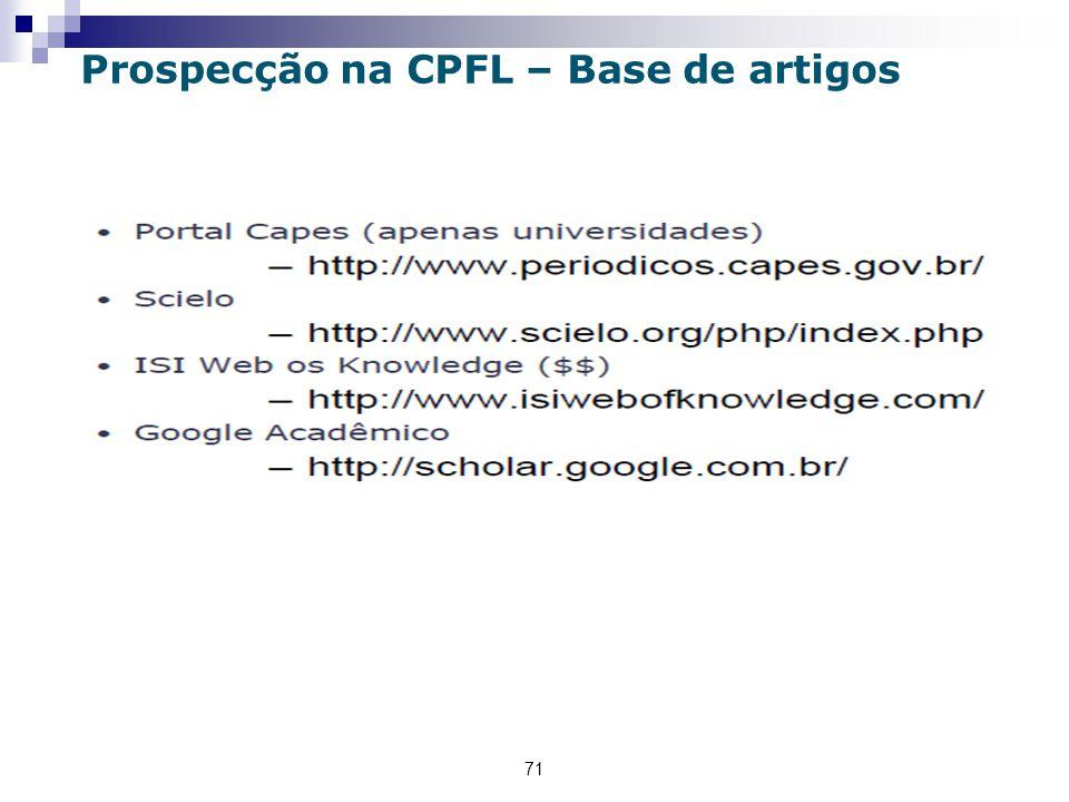 71 Prospecção na CPFL – Base de artigos