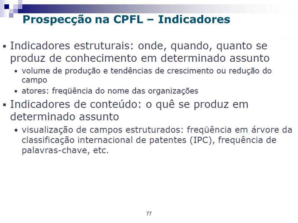 77 Prospecção na CPFL – Indicadores
