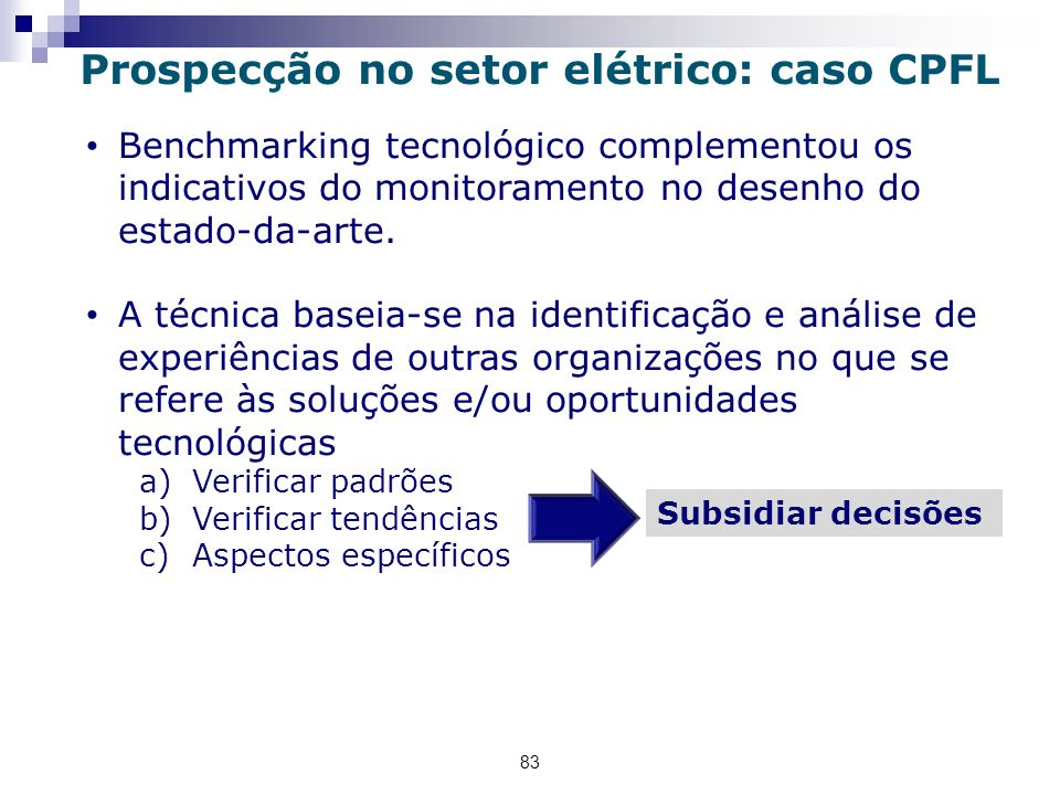 83 Benchmarking tecnológico complementou os indicativos do monitoramento no desenho do estado-da-arte.