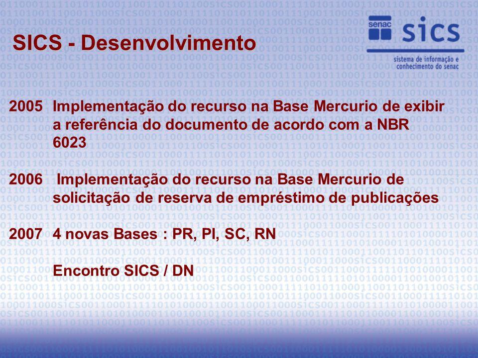2005Implementação do recurso na Base Mercurio de exibir a referência do documento de acordo com a NBR 6023 2006 Implementação do recurso na Base Mercurio de solicitação de reserva de empréstimo de publicações 20074 novas Bases : PR, PI, SC, RN Encontro SICS / DN SICS - Desenvolvimento