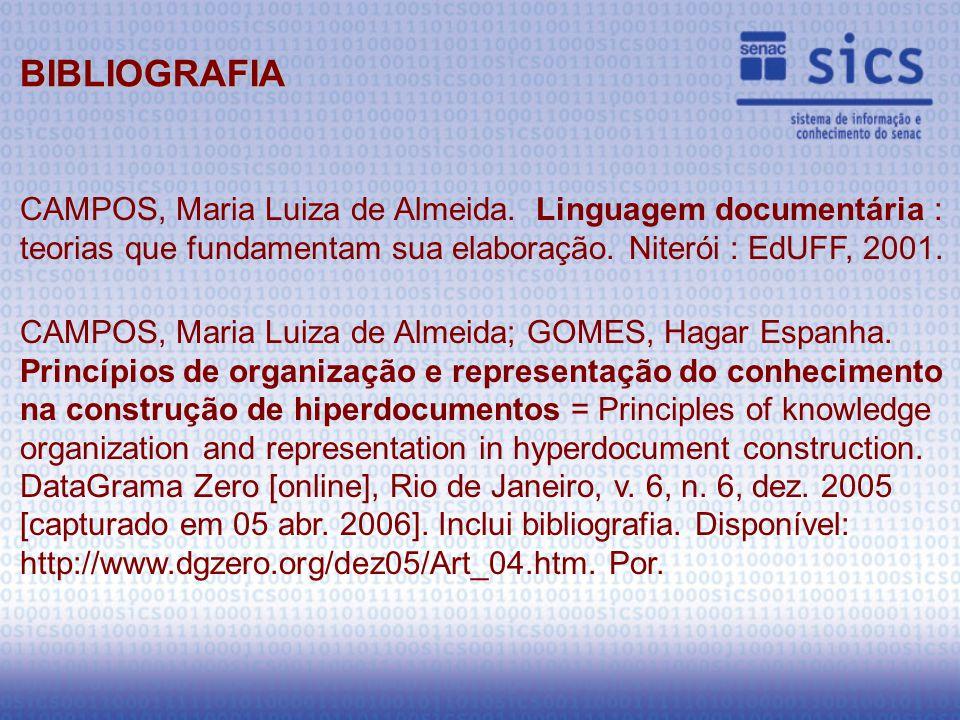 CAMPOS, Maria Luiza de Almeida. Linguagem documentária : teorias que fundamentam sua elaboração.