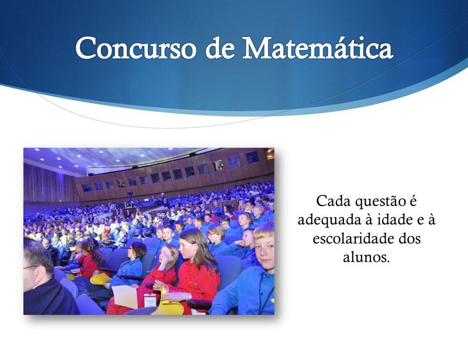 Cada questão é adequada à idade e à escolaridade dos alunos.