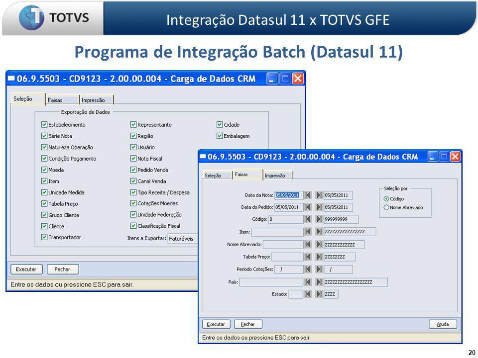 20 Programa de Integração Batch (Datasul 11) Integração Datasul 11 x TOTVS GFE