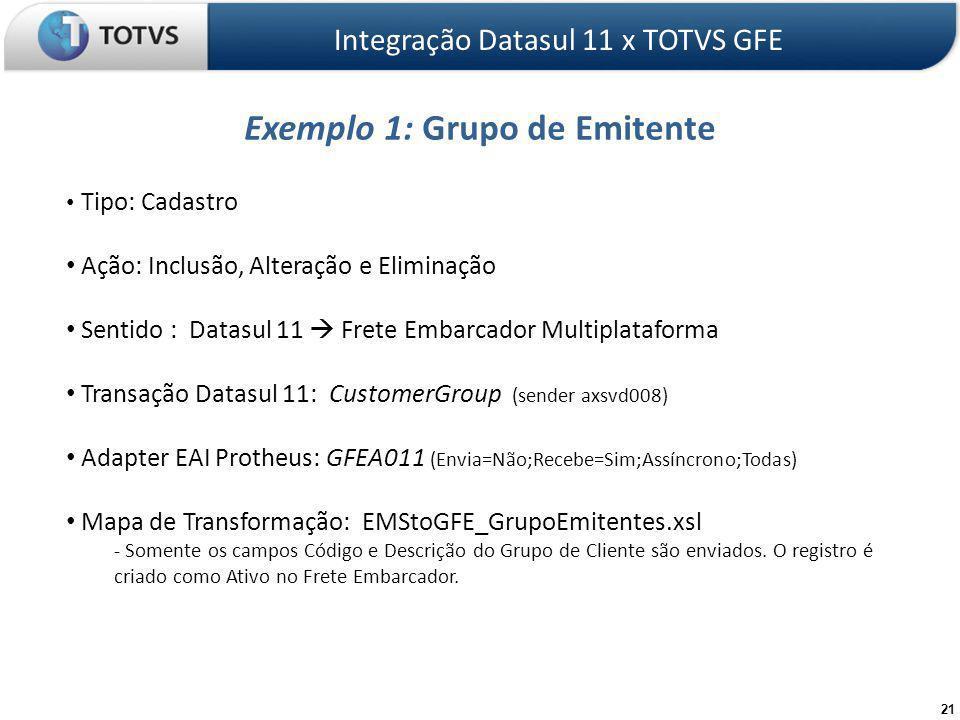 21 Exemplo 1: Grupo de Emitente Integração Datasul 11 x TOTVS GFE Tipo: Cadastro Ação: Inclusão, Alteração e Eliminação Sentido : Datasul 11 Frete Embarcador Multiplataforma Transação Datasul 11: CustomerGroup (sender axsvd008) Adapter EAI Protheus: GFEA011 (Envia=Não;Recebe=Sim;Assíncrono;Todas) Mapa de Transformação: EMStoGFE_GrupoEmitentes.xsl - Somente os campos Código e Descrição do Grupo de Cliente são enviados.