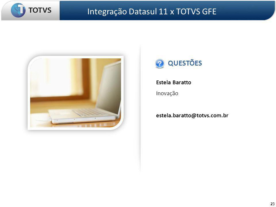 Estela Baratto Inovação estela.baratto@totvs.com.br QUESTÕES IMAGEM Integração Datasul 11 x TOTVS GFE 23