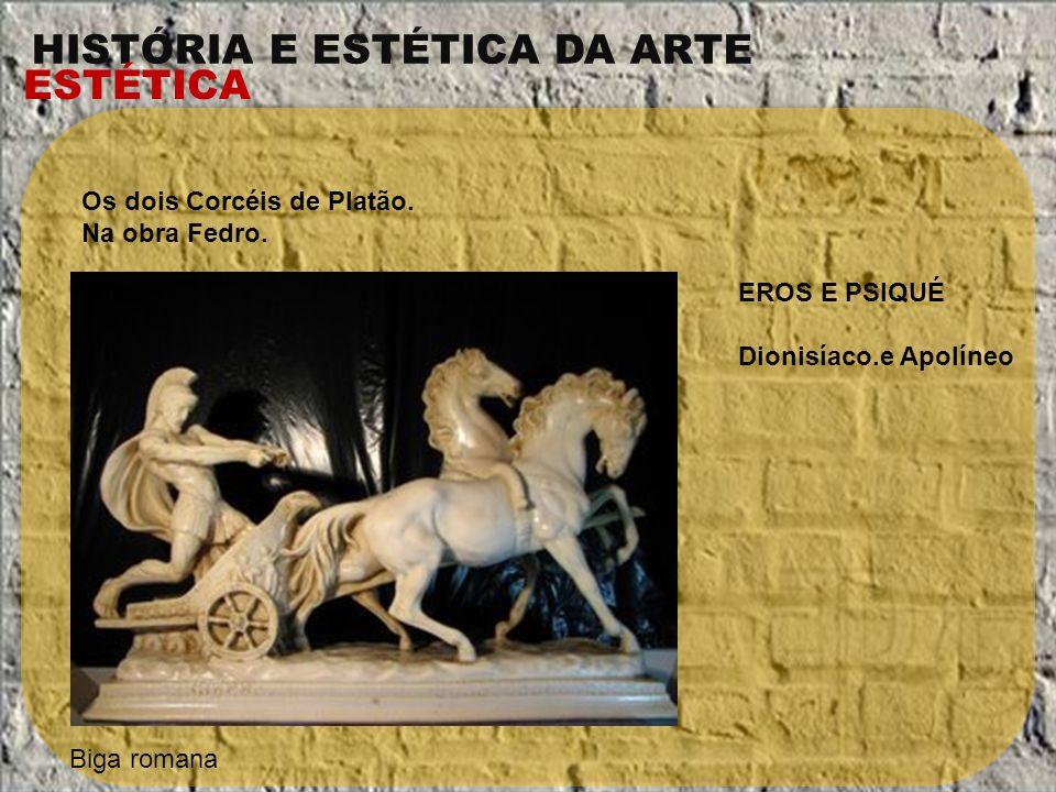 HISTÓRIA E ESTÉTICA DA ARTE ESTÉTICA Os dois Corcéis de Platão. Na obra Fedro. Biga romana EROS E PSIQUÉ Dionisíaco.e Apolíneo