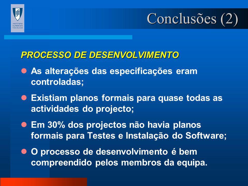 Conclusões (1) DIFICULDADES NA DEFINIÇÃO DO PRODUTO Na maioria dos projectos em causa as especificações do software a desenvolver não estavam completa