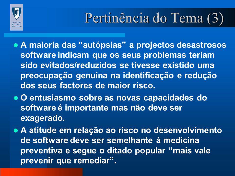 Pertinência do Tema (2) A taxa de insucesso em projectos de software situa-se entre os 30 e os 40 %; Em 90 % dos projectos, o orçamento é ultrapassado