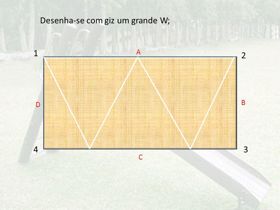1 2 43 A C D B Desenha-se com giz um grande W;