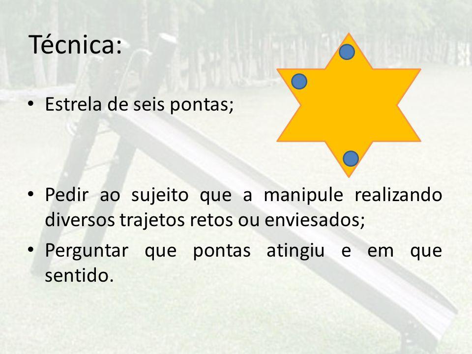 Técnica: Estrela de seis pontas; Pedir ao sujeito que a manipule realizando diversos trajetos retos ou enviesados; Perguntar que pontas atingiu e em q