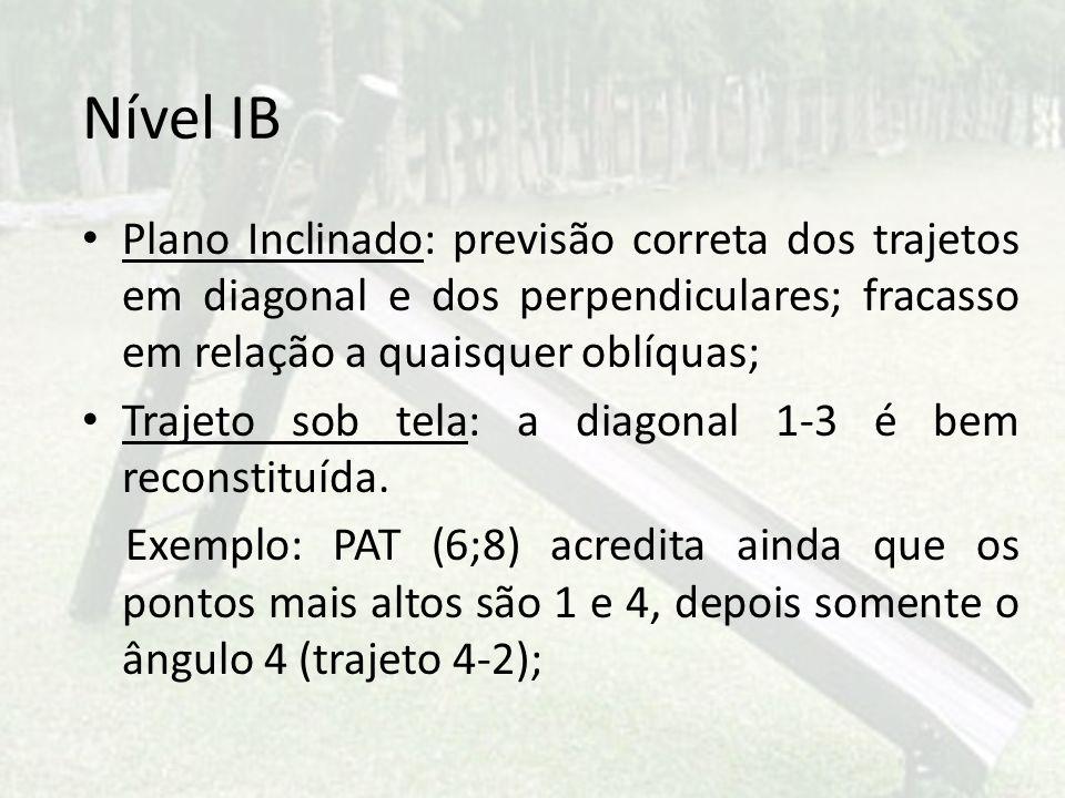 Nível IB Plano Inclinado: previsão correta dos trajetos em diagonal e dos perpendiculares; fracasso em relação a quaisquer oblíquas; Trajeto sob tela: