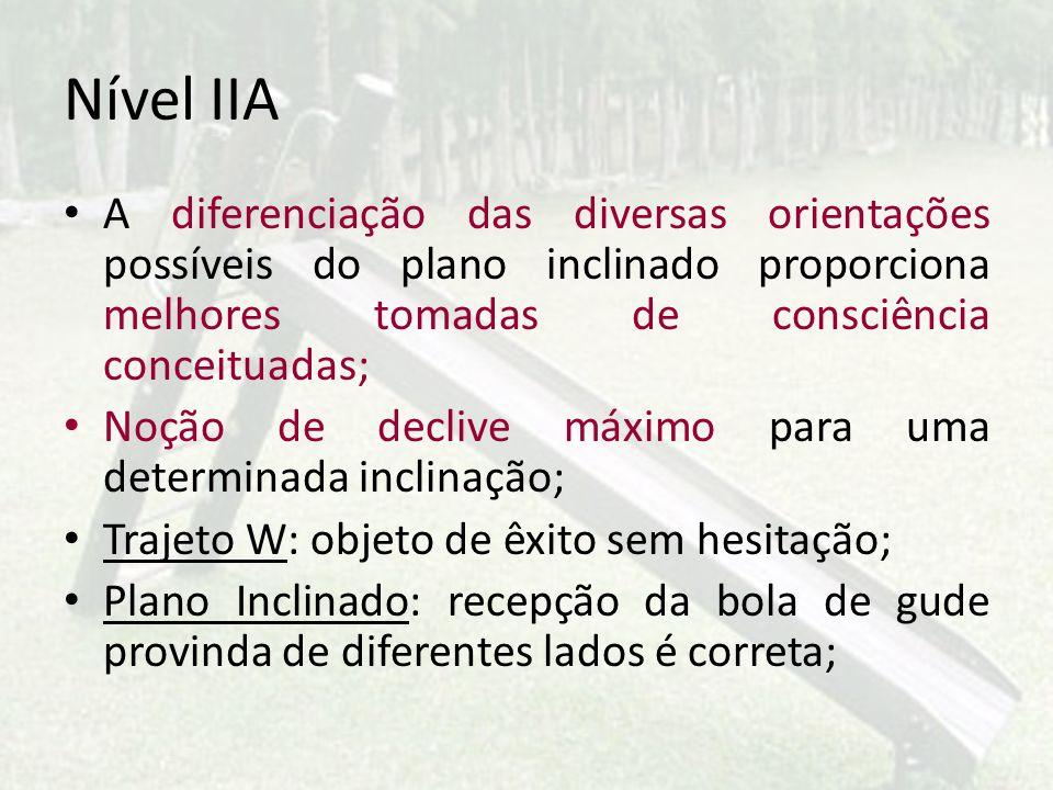 Nível IIA A diferenciação das diversas orientações possíveis do plano inclinado proporciona melhores tomadas de consciência conceituadas; Noção de dec