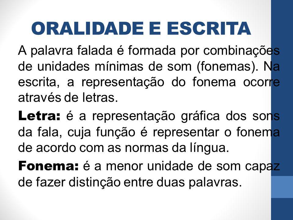 ORALIDADE E ESCRITA A palavra falada é formada por combinações de unidades mínimas de som (fonemas). Na escrita, a representação do fonema ocorre atra