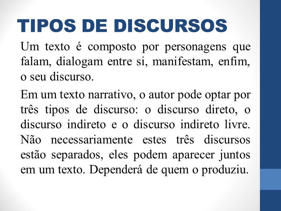 TIPOS DE DISCURSOS Um texto é composto por personagens que falam, dialogam entre si, manifestam, enfim, o seu discurso. Em um texto narrativo, o autor
