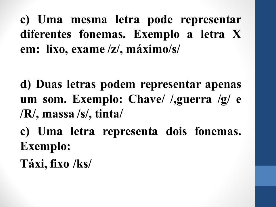 c) Uma mesma letra pode representar diferentes fonemas. Exemplo a letra X em: lixo, exame /z/, máximo/s/ d) Duas letras podem representar apenas um so