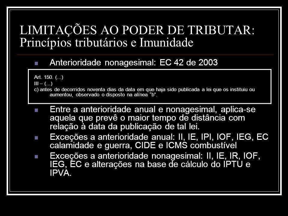 LIMITAÇÕES AO PODER DE TRIBUTAR: Princípios tributários e Imunidade Anterioridade nonagesimal: EC 42 de 2003 Art. 150. (...) III – (...) c) antes de d