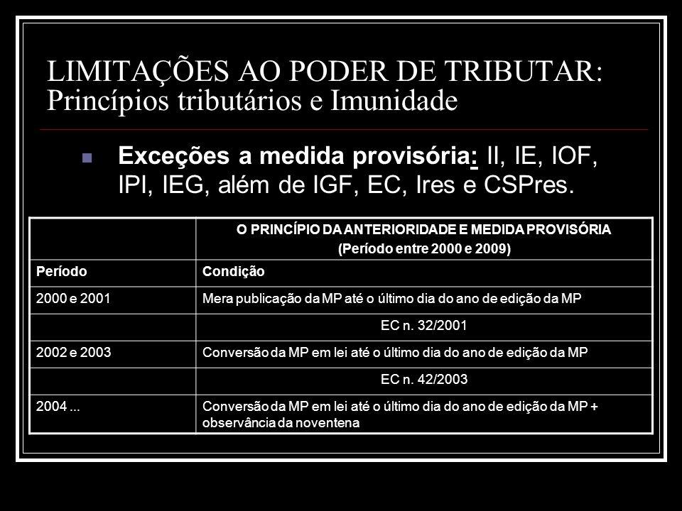LIMITAÇÕES AO PODER DE TRIBUTAR: Princípios tributários e Imunidade Exceções a medida provisória: II, IE, IOF, IPI, IEG, além de IGF, EC, Ires e CSPre