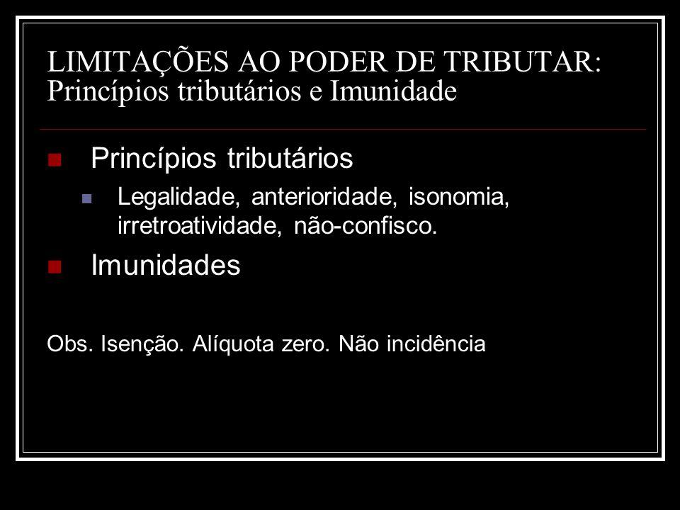 LIMITAÇÕES AO PODER DE TRIBUTAR: Princípios tributários e Imunidade Princípios tributários Legalidade, anterioridade, isonomia, irretroatividade, não-