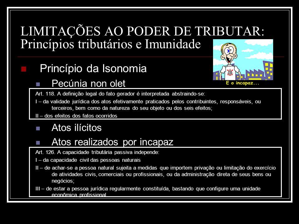 LIMITAÇÕES AO PODER DE TRIBUTAR: Princípios tributários e Imunidade Princípio da Isonomia Pecúnia non olet Art. 118. A definição legal do fato gerador
