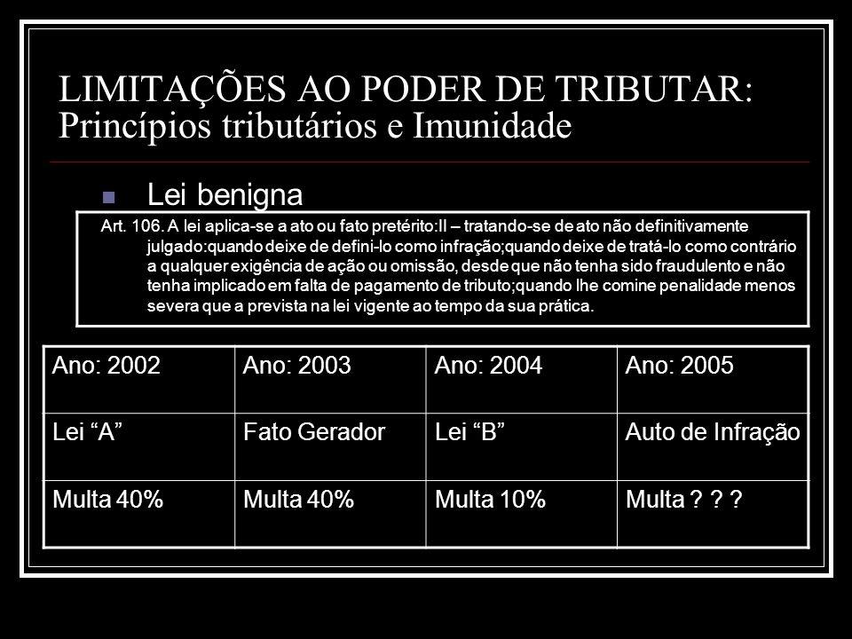 LIMITAÇÕES AO PODER DE TRIBUTAR: Princípios tributários e Imunidade Lei benigna Art. 106. A lei aplica-se a ato ou fato pretérito:II – tratando-se de