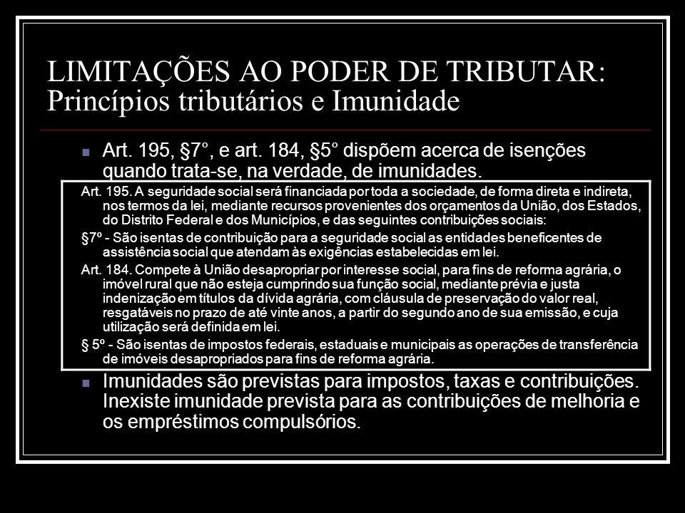 LIMITAÇÕES AO PODER DE TRIBUTAR: Princípios tributários e Imunidade Art. 195, §7°, e art. 184, §5° dispõem acerca de isenções quando trata-se, na verd