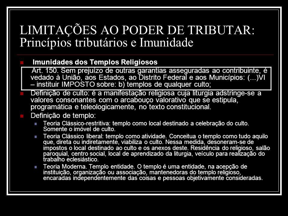 LIMITAÇÕES AO PODER DE TRIBUTAR: Princípios tributários e Imunidade Imunidades dos Templos Religiosos Art. 150. Sem prejuízo de outras garantias asseg