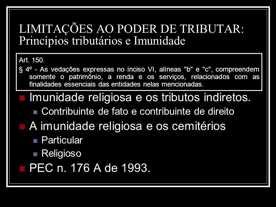 LIMITAÇÕES AO PODER DE TRIBUTAR: Princípios tributários e Imunidade Art. 150. § 4º - As vedações expressas no inciso VI, alíneas
