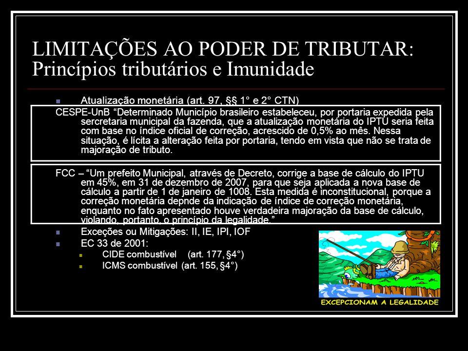 LIMITAÇÕES AO PODER DE TRIBUTAR: Princípios tributários e Imunidade Atualização monetária (art. 97, §§ 1° e 2° CTN) CESPE-UnB Determinado Município br
