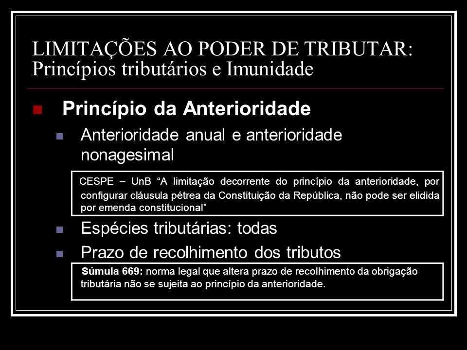 LIMITAÇÕES AO PODER DE TRIBUTAR: Princípios tributários e Imunidade Princípio da Anterioridade Anterioridade anual e anterioridade nonagesimal CESPE –